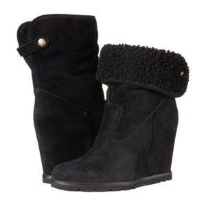UGG Kyra Wedge Ankle Black Bootie 8